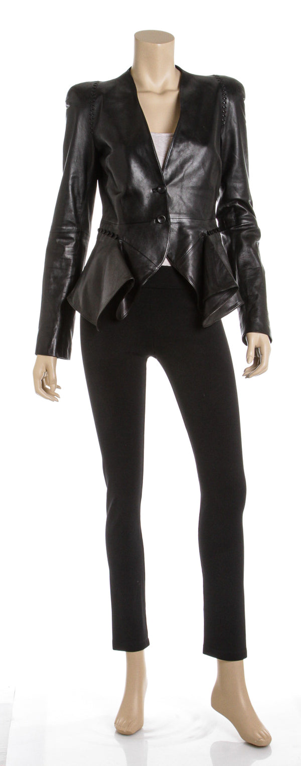 Alexander McQueen Black Leather  Fit & Flare Jacket (Size 44)