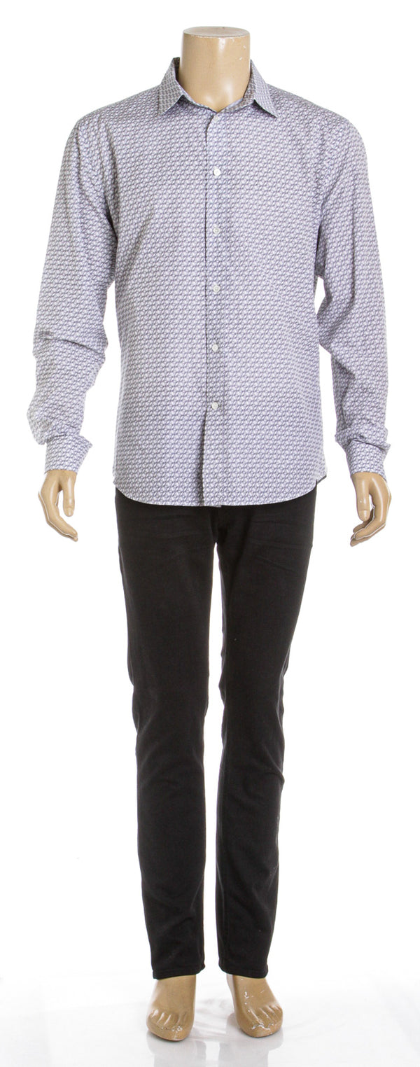 Louis Vuitton White and Blue Cotton Long Sleeve Logo Button Down Shirt (Size XXL)