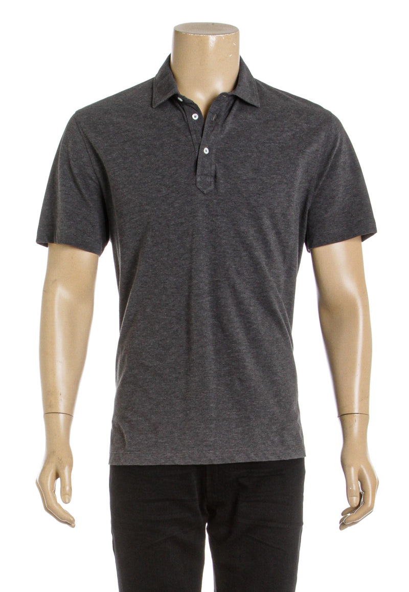 Brunello Cucinelli Gray Cotton Short Sleeve Polo Shirt (Size 52)