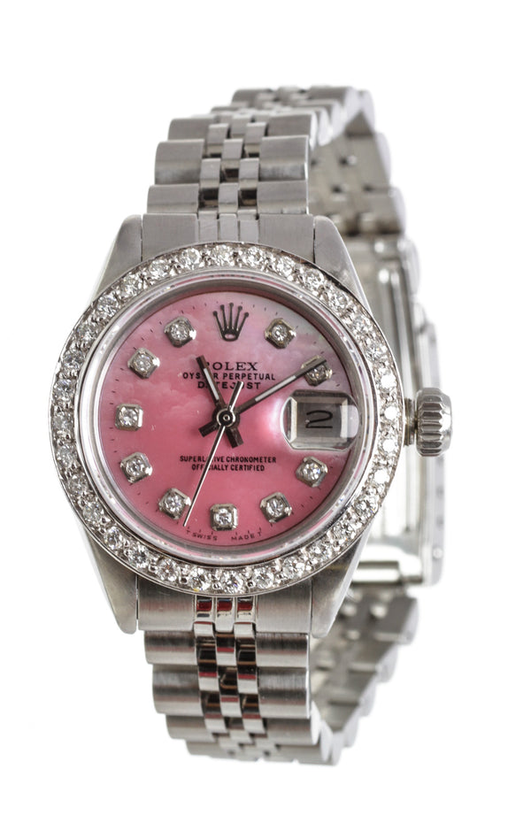 Rolex Oyster Perpetual Stainless Steel and Diamond Pink MOP Women's Watch