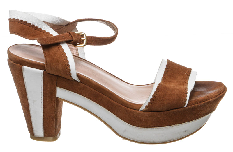 Stuart Weitzman Tan and White Suede Platform Sandals (Size 6)
