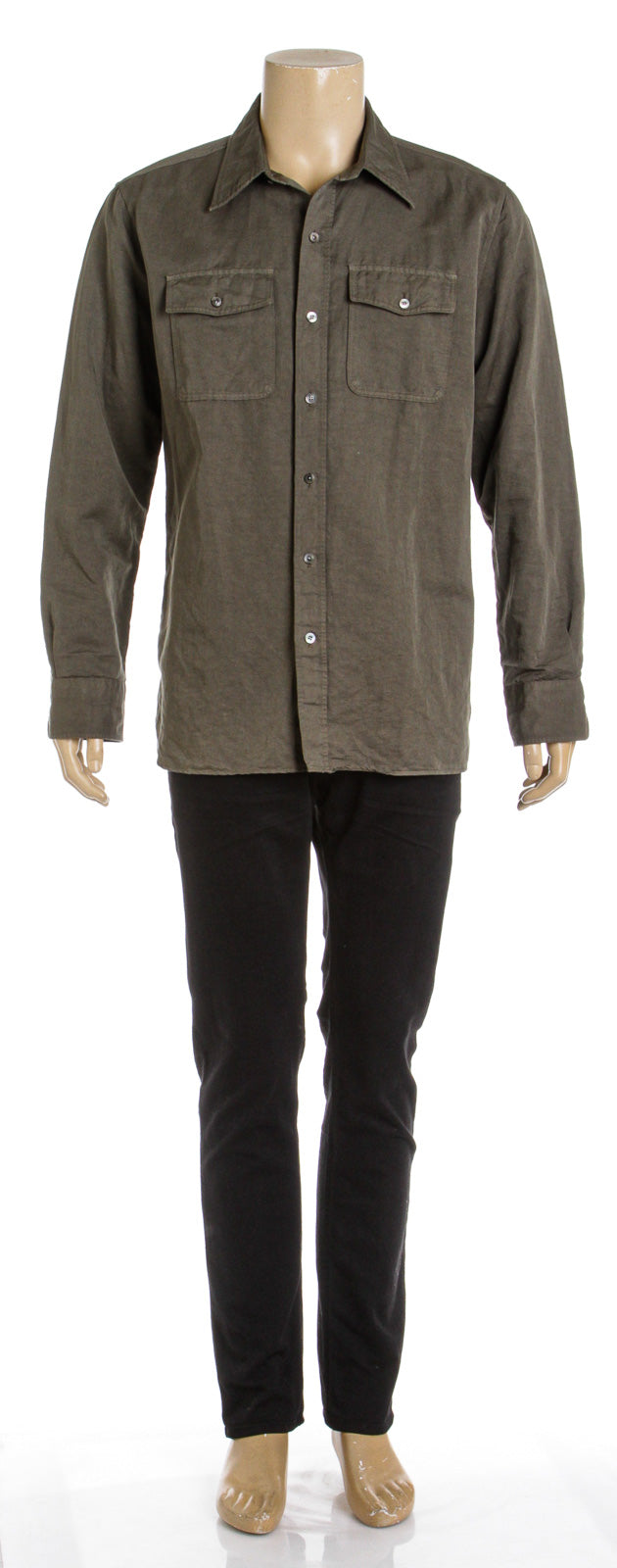 Tom Ford Military Twill Button-Up Long Sleeve Shirt (Size 44)