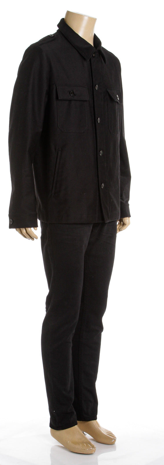 Tom Ford Black Cotton Car Coat (Size XL)