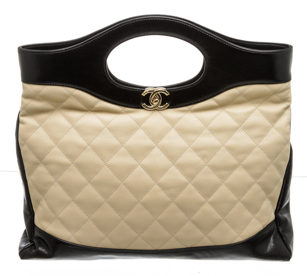 Chanel Beige and Black Calfskin Large 31 Shopping Bag