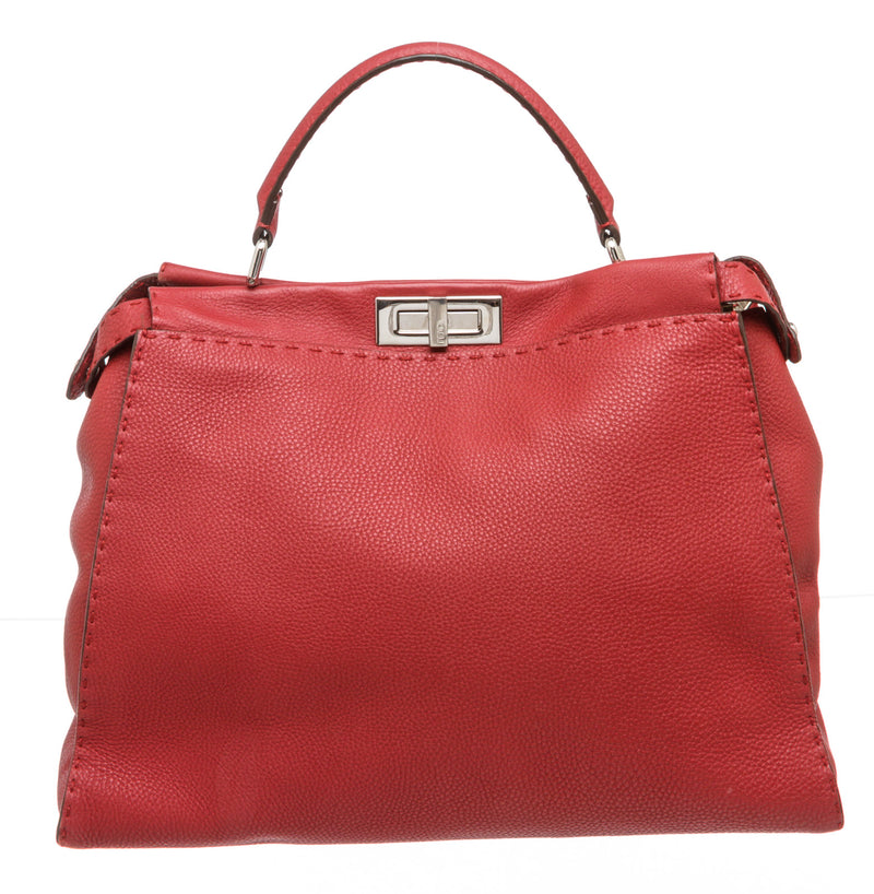 Fendi Red Grained Leather Iconic Large Peekaboo Bag