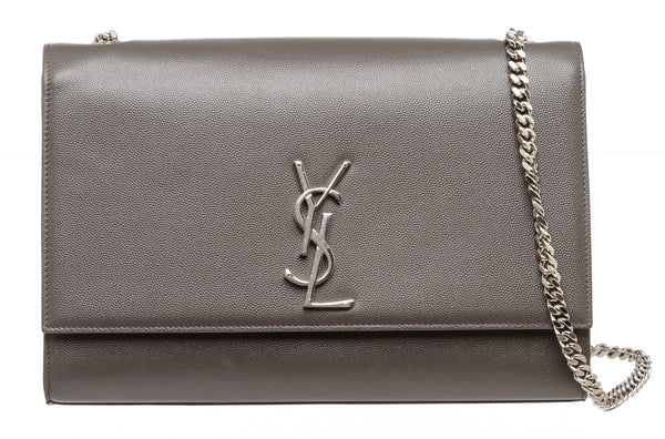 Saint Laurent Gray Textured Large Kate Crossbody Bag