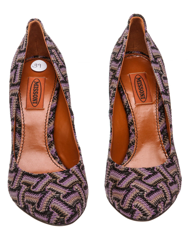 Missoni Purple Multicolor Knit Chevron Pumps (Size 39)