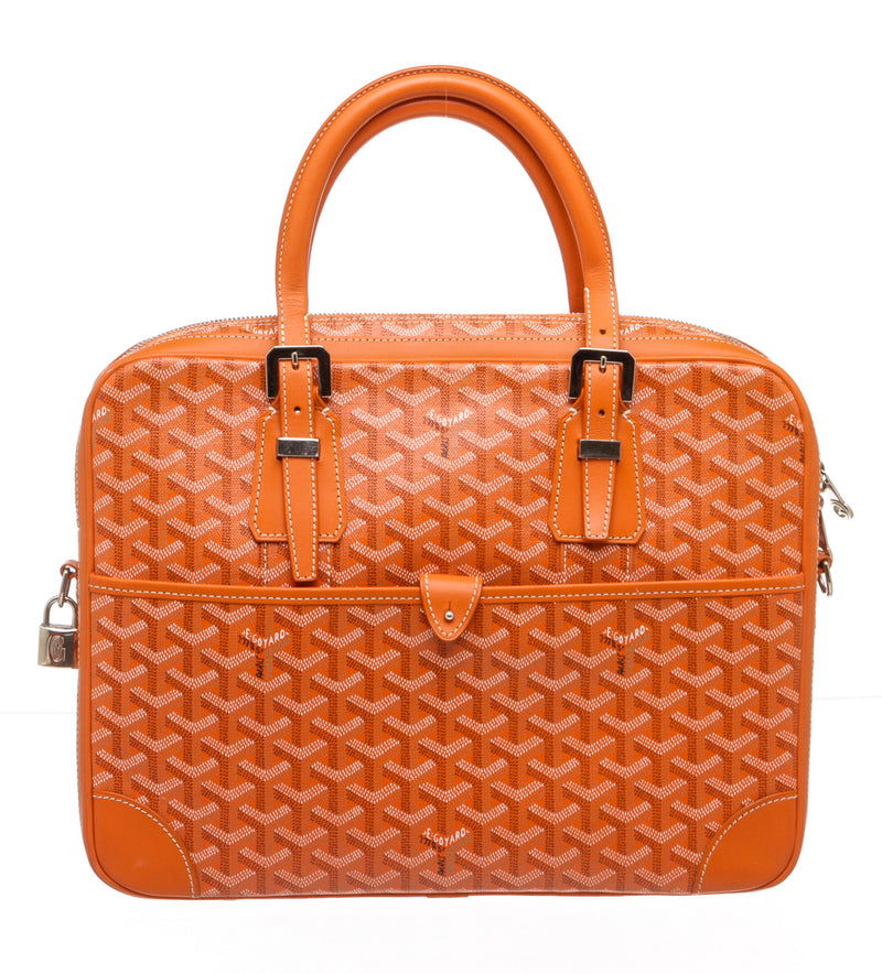 Goyard Orange Coated Canvas Ambassade Briefcase