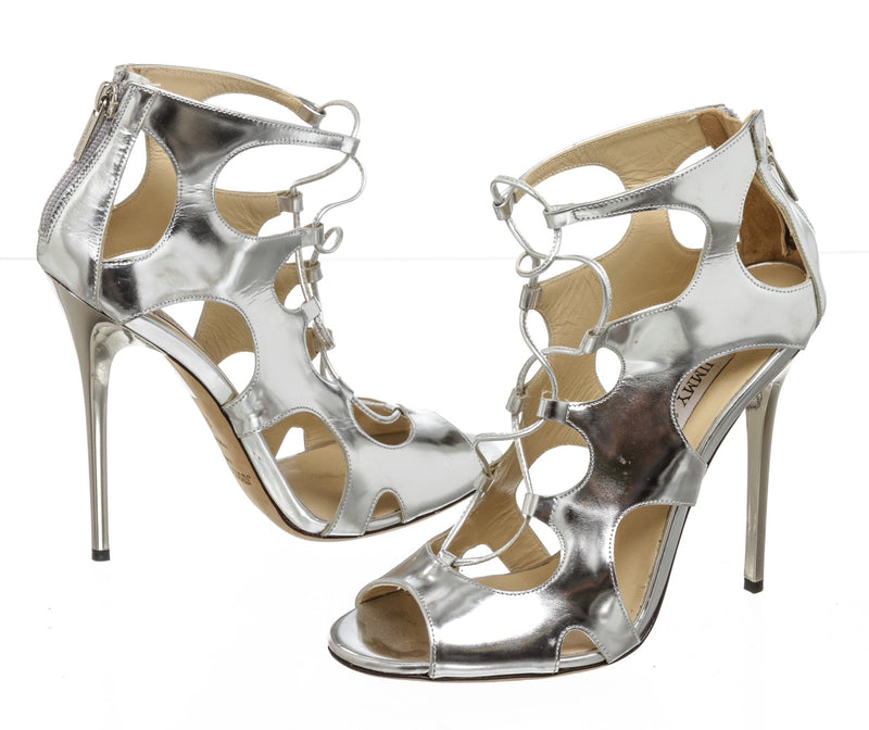 Jimmy Choo Metallic Silver Leather Cage Stiletto Sandals (Size 38)