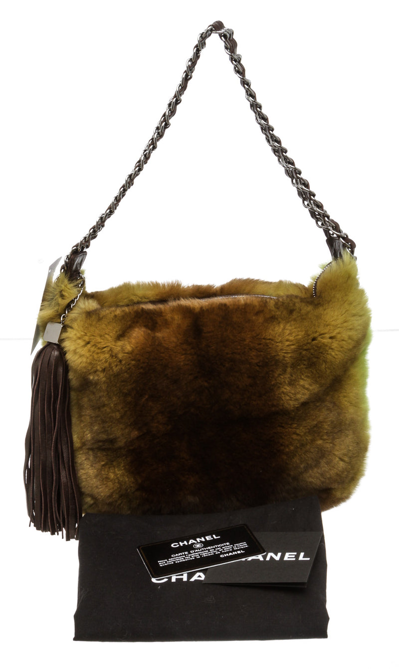 Chanel Brown and Green Lapin Rabbit Fur Hobo