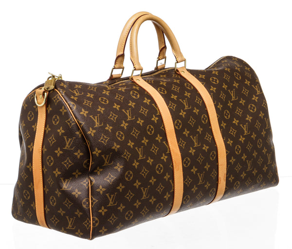 Louis Vuitton Brown Monogram Keepall Bandouliere 55 Duffle Bag