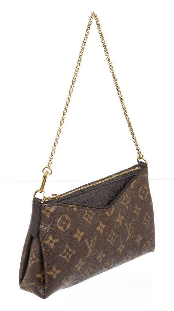 Louis Vuitton Noir and Brown Monogram Pallas Clutch/Crossbody Bag
