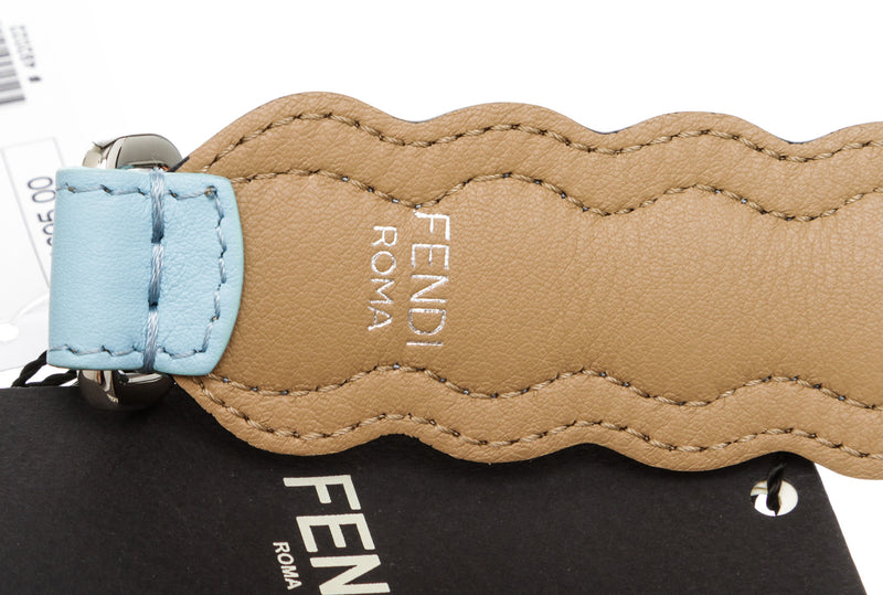 Fendi Blue Leather 'Mini Strap You' Scalloped Bag Strap
