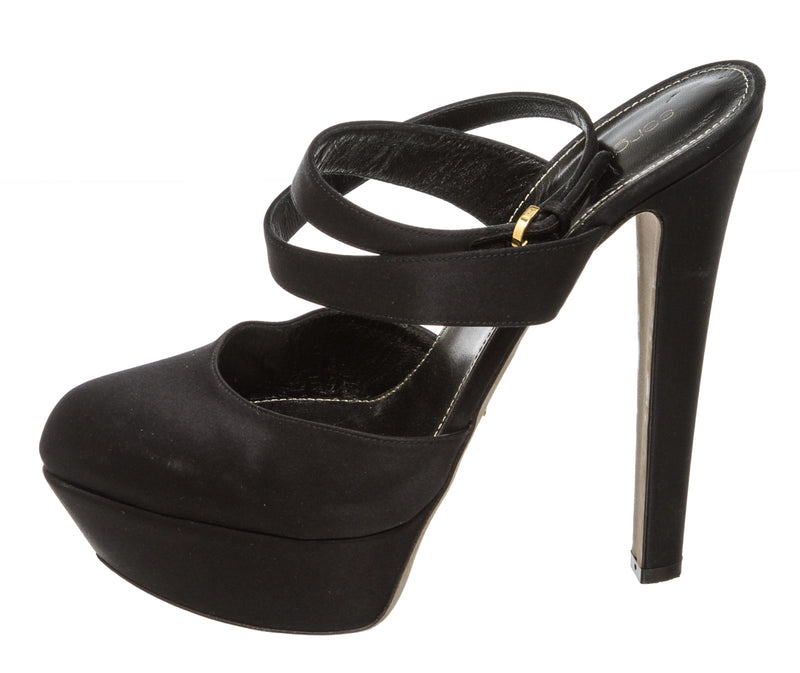 Sergio Rossi Black Satin Ankle Wrap Platform Shoes (Size 39)
