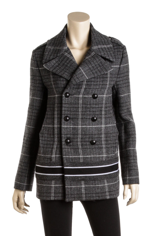 Christian Dior Gray Plaid Wool Double Breasted Jacket (Size 4)