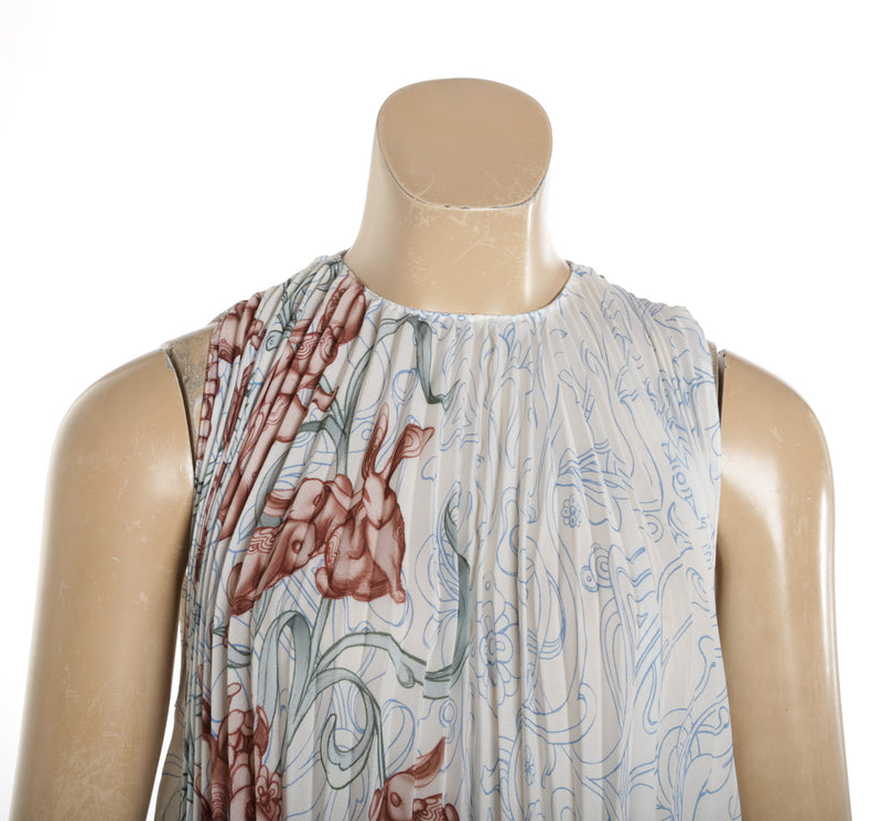 Prada White Sleeveless Pleated Georgette Rabbit Liberty Top (Size 38)