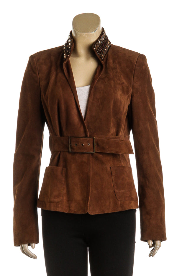 Valentino Brown Suede Embellished Belted Jacket (Size 8)