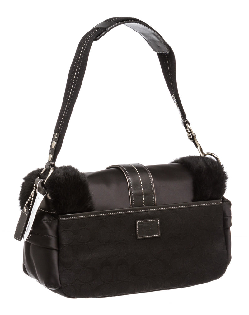 Coach Black Signature Nylon and Rabbit Fur Ski Pocket Bag