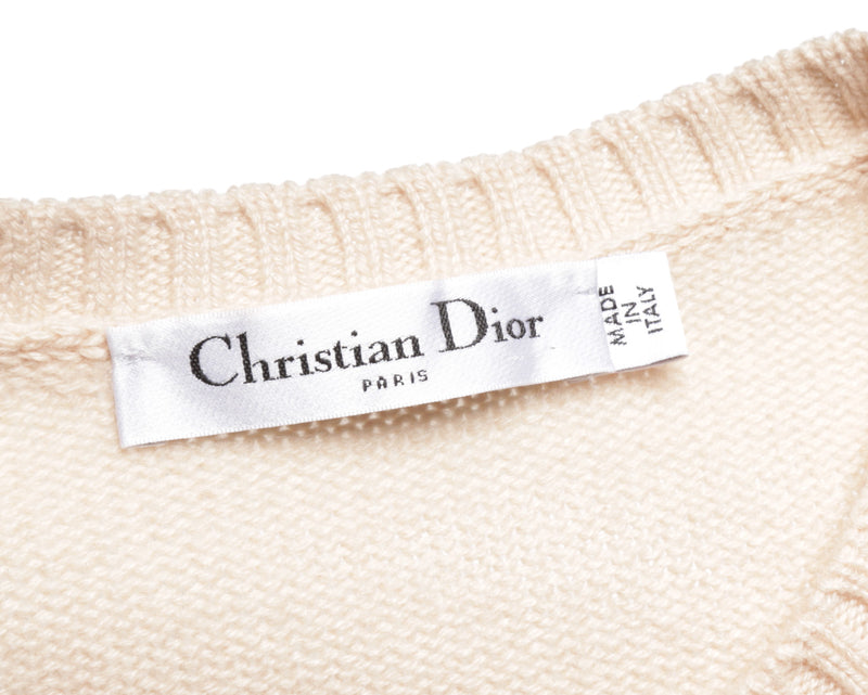 Christian Dior Beige Cashmere Long Sleeve 'La Licorne' Sweater (Size M)