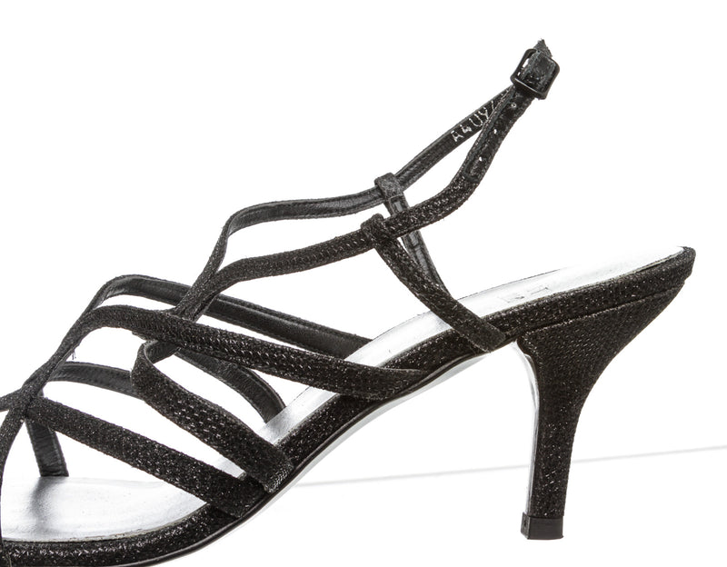 Stuart Weitzman Black Metallic Stamped Leather Sandals (Size 8)