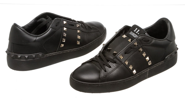 Valentino Black Leather Rockstud Untitled Sneakers (Size 39)