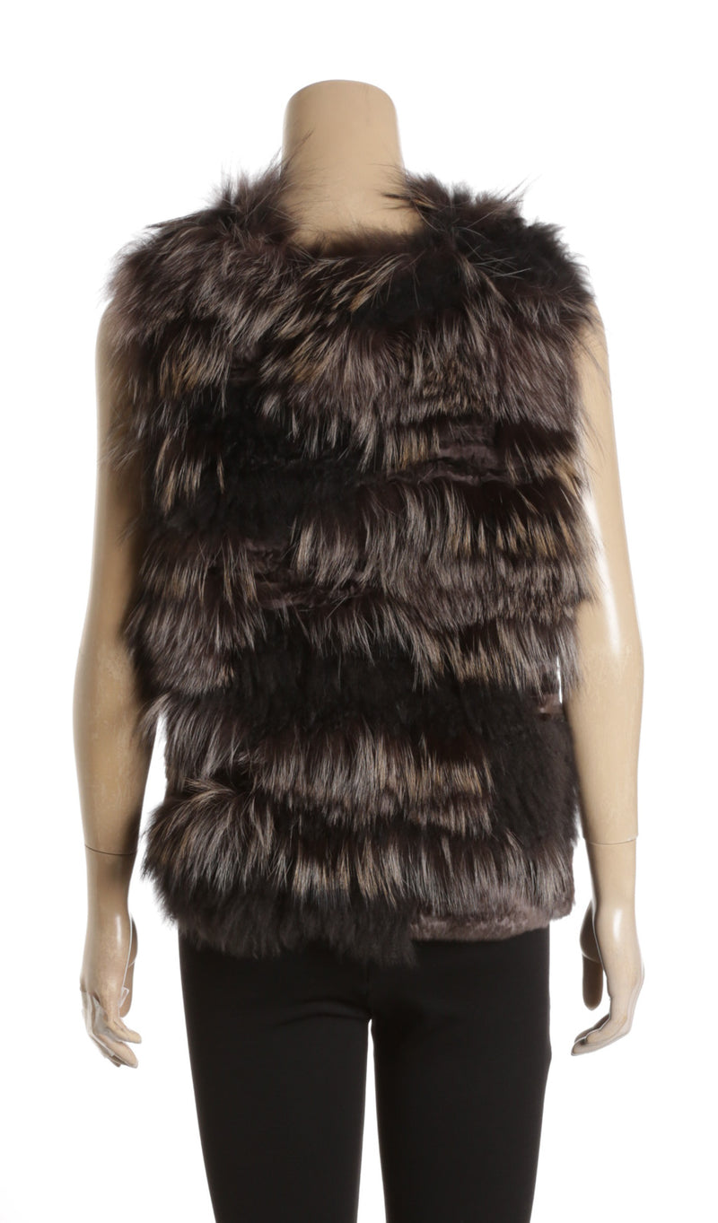 Brunello Cucinelli Gray Cashmere With Rabbit Fur Vest (Size L)