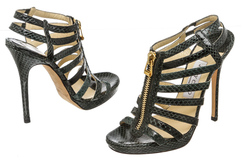 Jimmy Choo Green Snakeskin Glenys Sandals (Size 38.5)