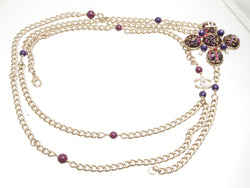 Chanel Purple Tweed And Chain 07A Waist Belt