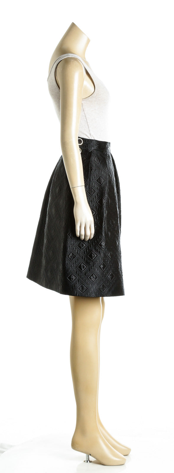Temperley Black Novah Quilted Cotton and Silk-Blend Skirt (Size 2)