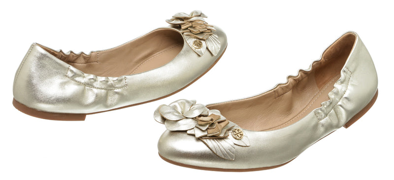 Tory Burch Metallic Gold Leather Blossom Ballet Flat (Size 8)
