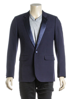 Saint Laurent Navy Blue Classic Buttoned Blazer (Size 48)