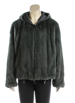 Brunello Cucinelli Green Reversible Mink Fur Hooded Jacket (Size 42)