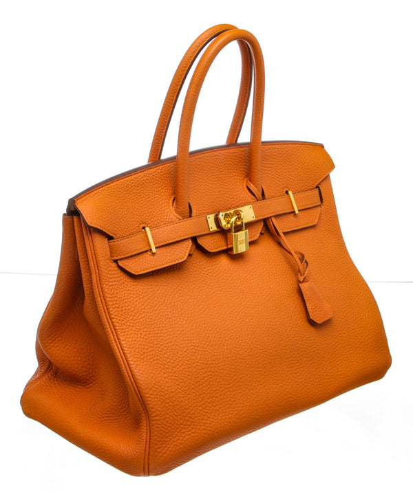 Hermes Orange Togo Leather Birkin 35cm Bag GHW