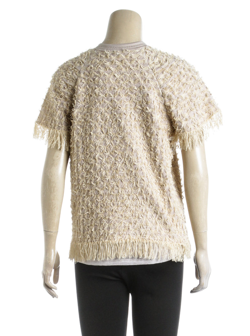 Chanel Gold Knit Short Sleeve Fringe Top (Size 38)