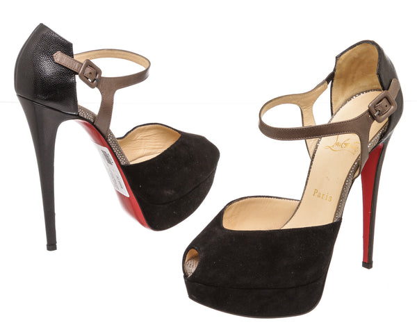 Christian Louboutin Black Suede and Taupe Leather Platform Peep-Toe Mary Jane Pumps (Size 39)