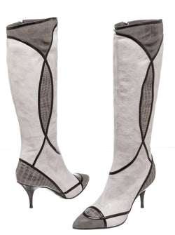 Casadei Gray Suede and Patent Leather Knee-High Boots (Size 36)
