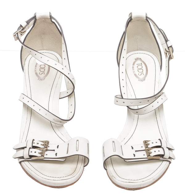 Tod's White Leather Strappy Sandals (Size 40)