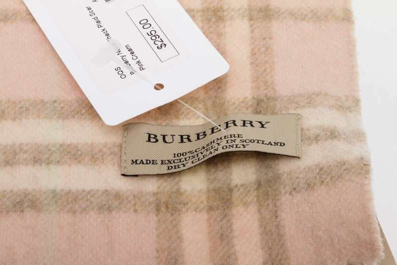 Burberry Light Pink Cashmere Plaid Scarf