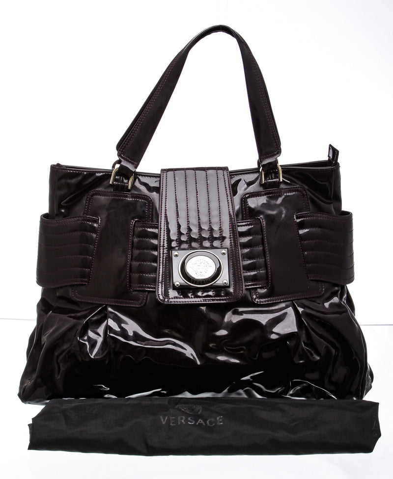 Versace Plum Patent Leather Tote Bag