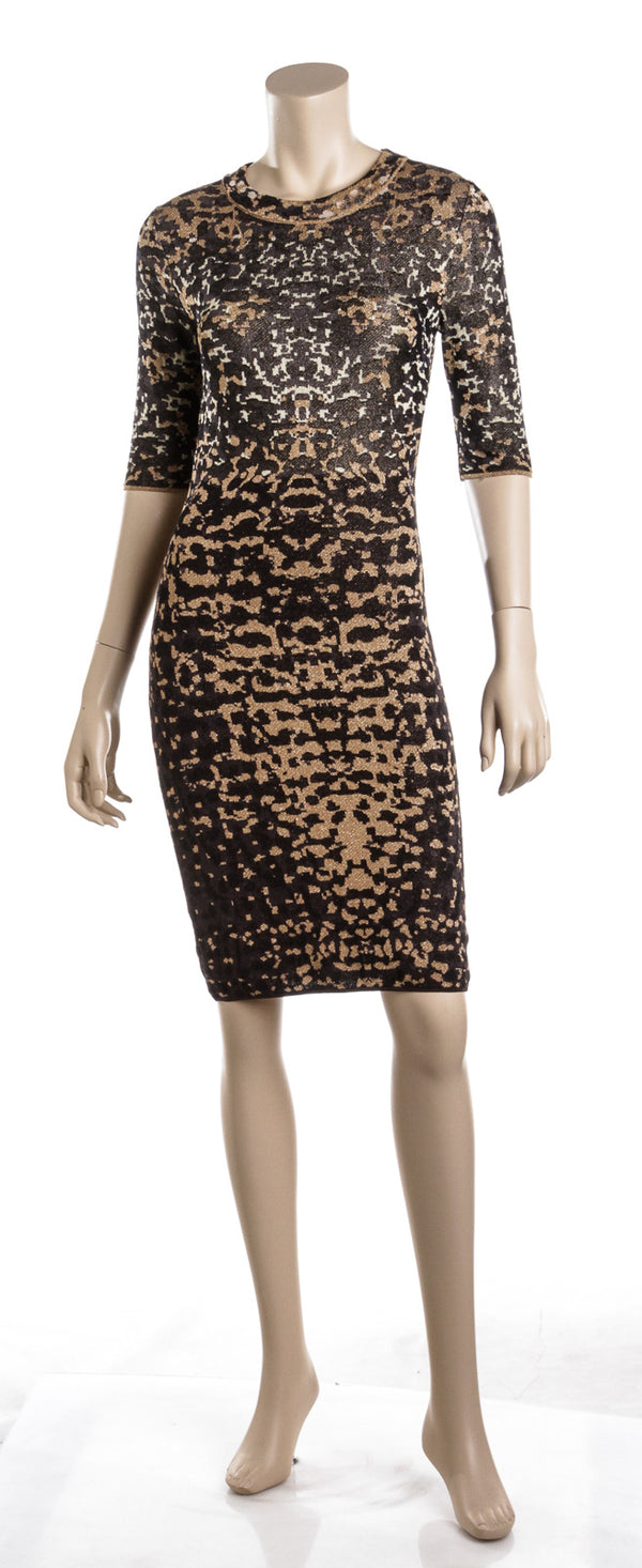 M Missoni Black and Gold Knit Metallic Leopard Print Midi Dress (Size 2)