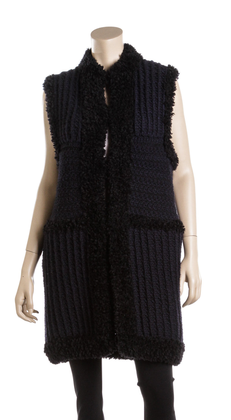 Christian Dior Navy and Black Wool Long Knit Sweater (Size 8)