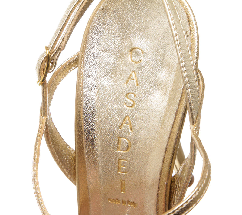 Casadei Metallic Gold Leather Strappy Sandals (Size 8)