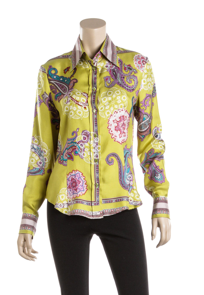 Etro Acid Green and Multicolor Silk Paisley Blouse (Size 44)