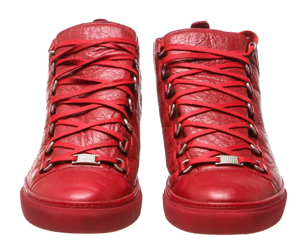 Balenciaga Bright Red Lamb Leather Arena Mid-Top Sneakers (Size 45)