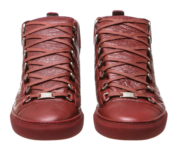 Balenciaga Red Lamb Leather Arena Mid-Top Sneakers (Size 44)