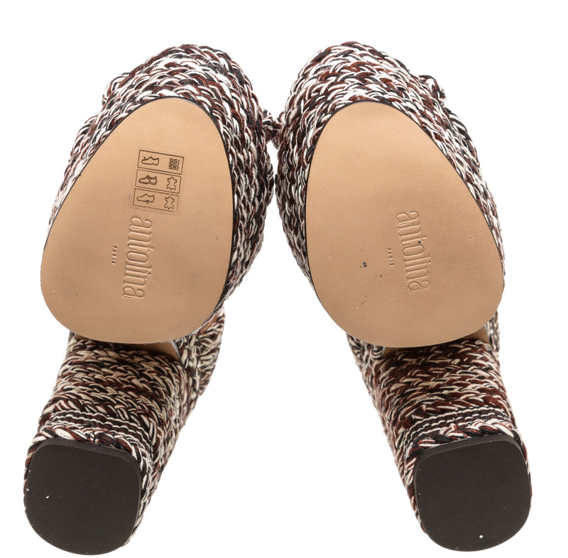 Antolina Brown and White Crochet Sandals (Size 38)