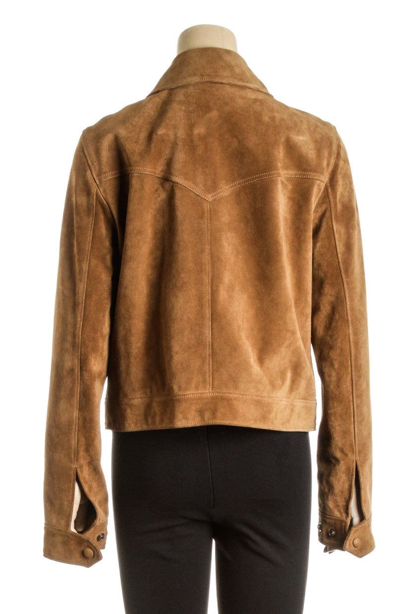 Saint Laurent Brown Suede Long Sleeve Jacket (Size M)