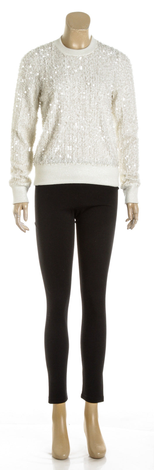 Chanel Cream Angora Long Sleeve Sequinned Knit Top (Size 36)