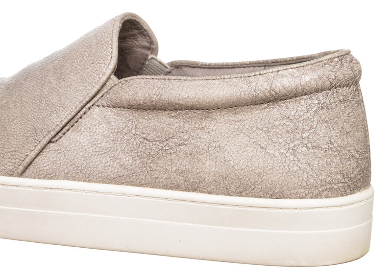 Eileen Fisher Gray Leather Slip-On Trainers (Size 6.5)