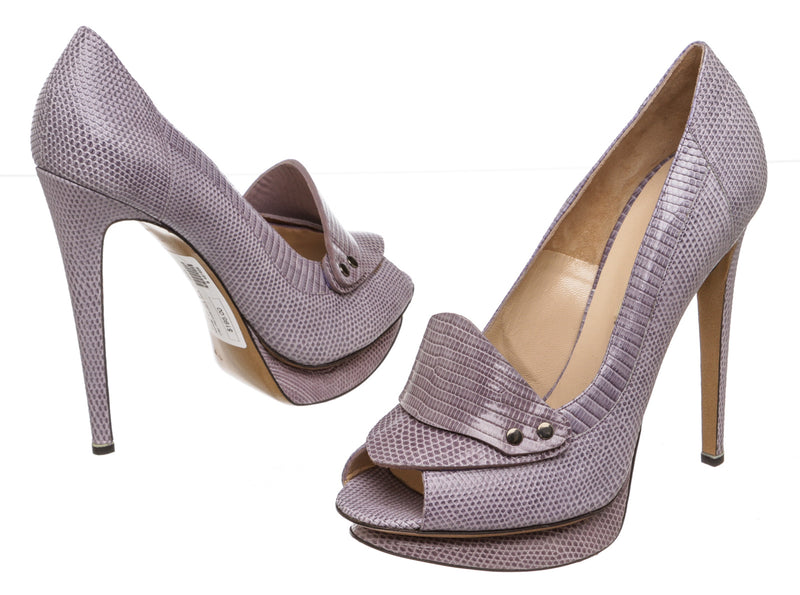 Nicholas Kirkwood Purple Embossed Leather Peep-Toe Platform Pumps (Size 39.5)